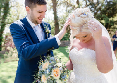 confetti in wedding hair up at lymphe castle by pretty please by katie